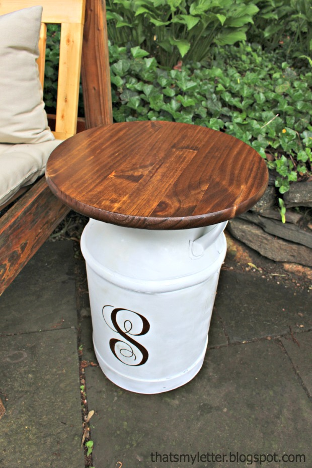 Repurposed vintage milk jug side tables pretty handy girl for Milk can table ideas