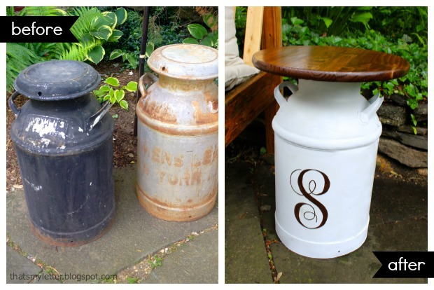 Repurposed vintage milk jug side tables pretty handy girl for Repurposed milk cans