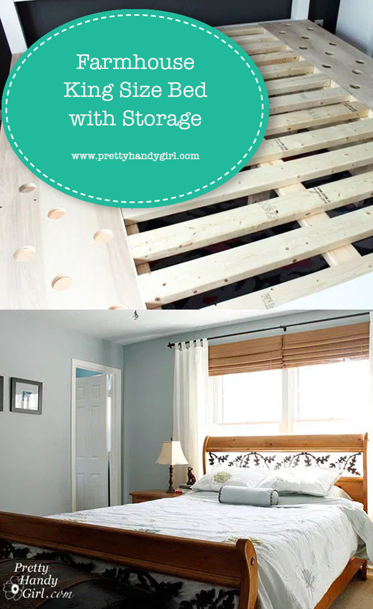 Farmhouse King Size Bed with Storage | Pretty Handy Girl