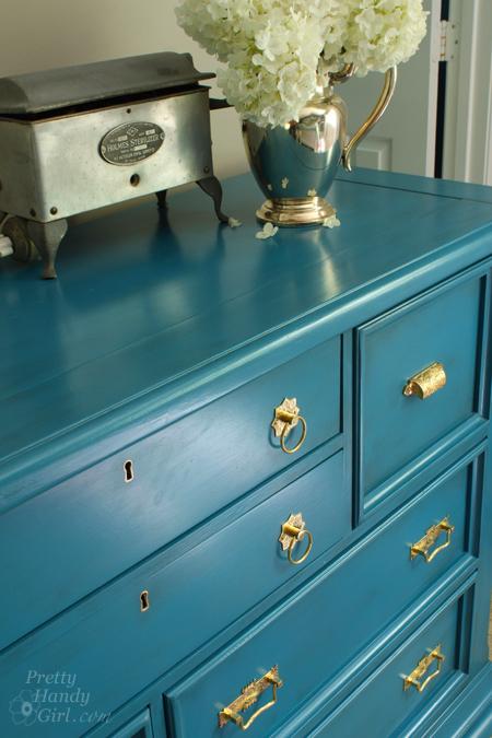 Pine Aqua Dresser Makeover