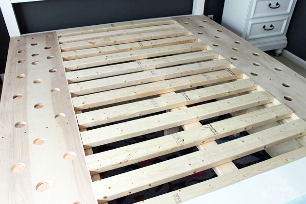 modified king size farmhouse bed with storage drawers pretty handy girl - Diy King Size Bed Frame