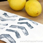 DIY Block Print Stamped Tea Towel