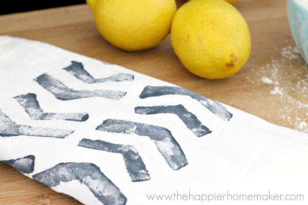 diy block print tea towel