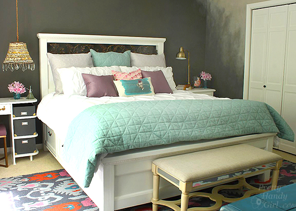 Cute Modified King Size Farmhouse Bed with Storage Drawers Pretty Handy Girl