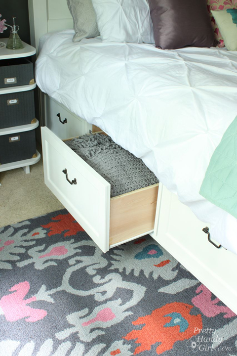 Beautiful Modified King Size Farmhouse Bed with Storage Drawers Pretty Handy Girl