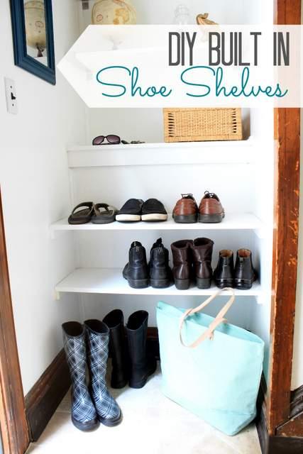 DIY Built In Shoe Shelves Pretty