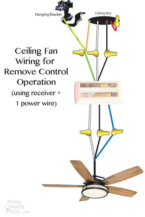 How To Wire A Hunter Ceiling Fan With Remote : How to install a ceiling fan pretty handy girl