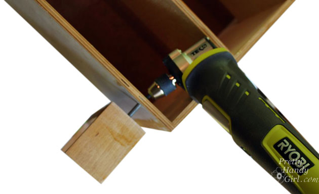 remove legs with Ryobi right angle driver
