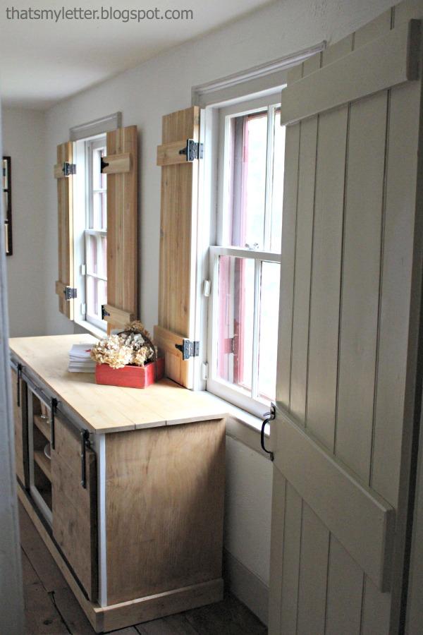 interior cedar shutters foyer