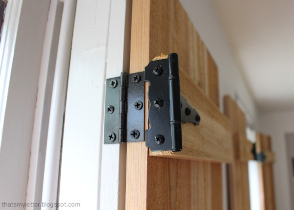 interior cedar shutters hardware detail
