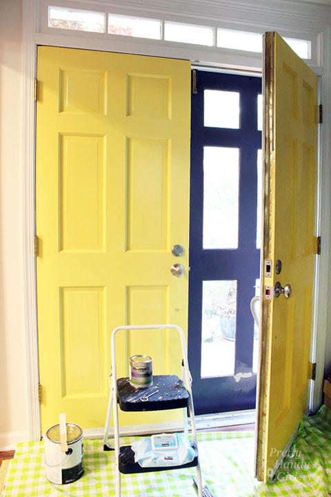 good day sunshine yellow painted doors pretty handy girl. Black Bedroom Furniture Sets. Home Design Ideas
