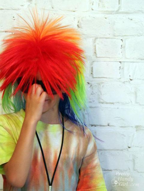 Rainbow Punk Hair for Rock n' Roll Birthday Party   Pretty Handy Girl
