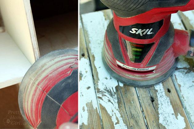 Skil orbital Sander sanding wood.