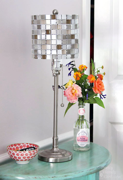 How to make a mosaic tile lamp shade lowes creator make your own mosaic tile lampshade pretty handy girl audiocablefo