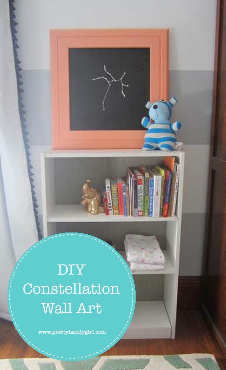 This idea for constellation wall art is both a way to add art to the walls, and some personalization for gift giving!   DIY wall art   Pretty Handy Girl #prettyhandygirl #DIYart #wallart