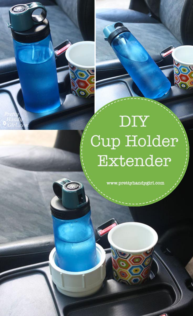 End the bottles tipping and spilling on turns in your car with this DIY cup holder extender! | Pretty Handy Girl #prettyhandygirl #DIY