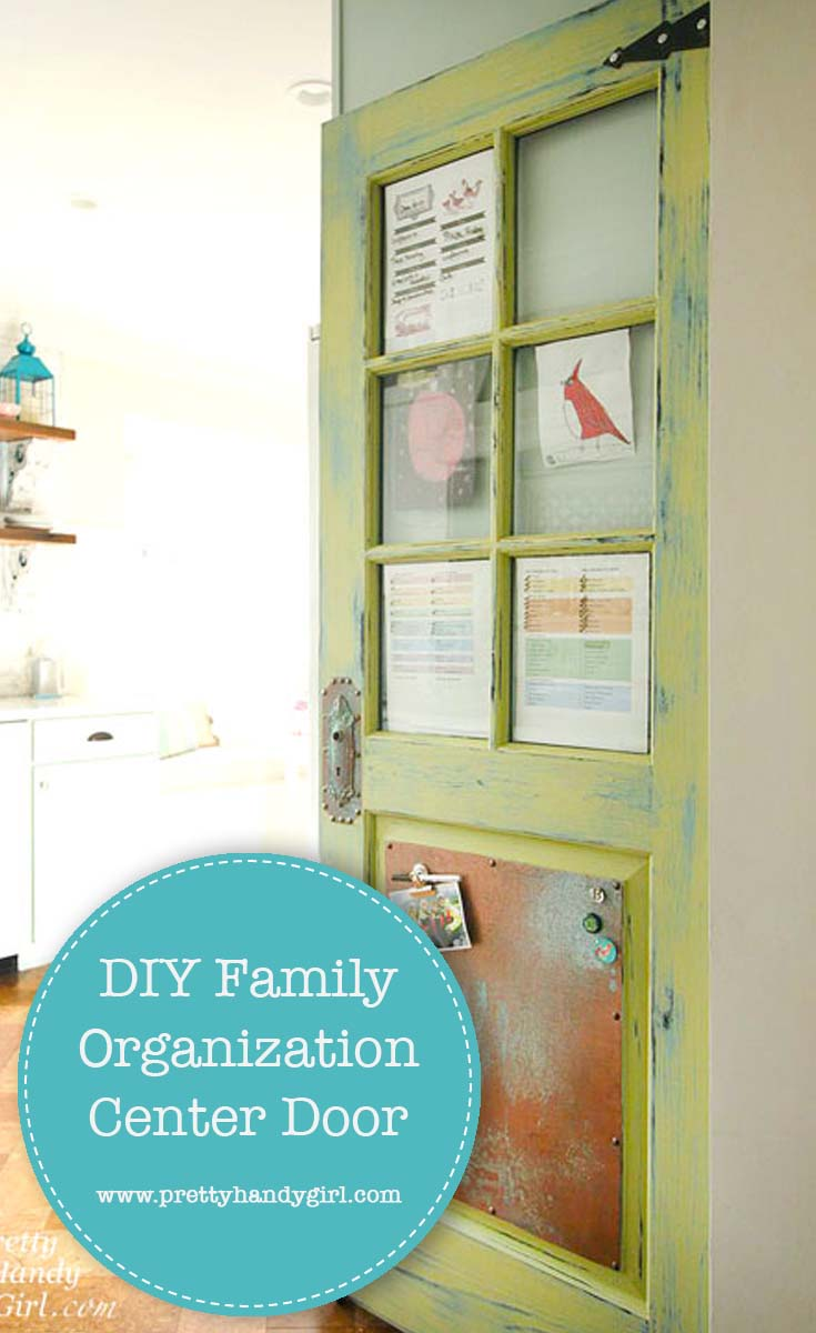 See how Pretty Handy Girl took an old door and turned it into a family organization center | DIY command center | DIY family organization center #prettyhandygirl #DIY #familycommandcenter #familyorganizationcenter