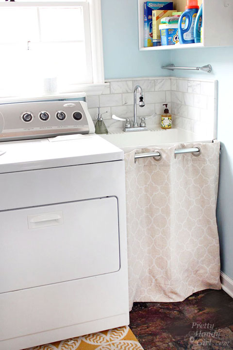 laundry room sink skirt pretty handy girl