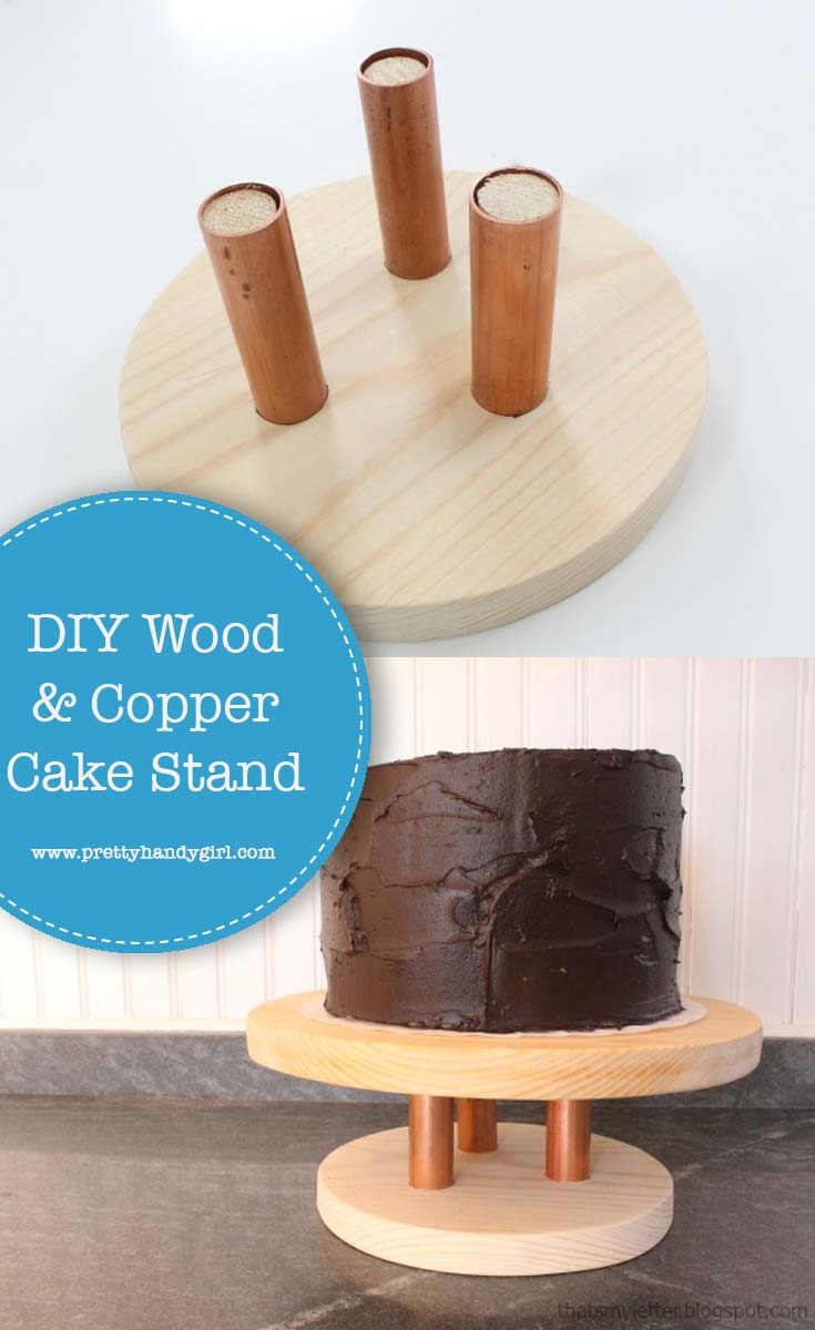 This wood and copper cake stand from Pretty Handy Girl is a fairly simple project that can be tailored to fit your style with paint or stain! | DIY cake stand | DIY wood projects #prettyhandygirl #DIYcakestand #DIYwoodproject