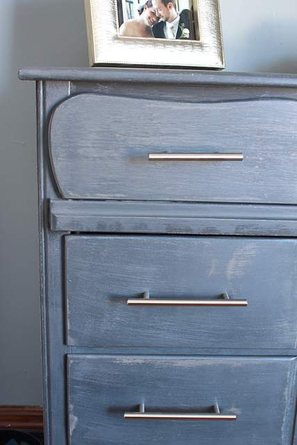 refinished furniture in blue tones