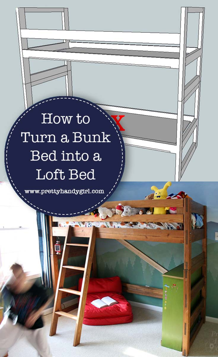 See how Pretty Handy Girl turns her son's bunk bed into a loft bed in a few simple steps | DIY bed | DIY loft bed #prettyhandygirl #DIYbed #DIYproject #DIYloftbed