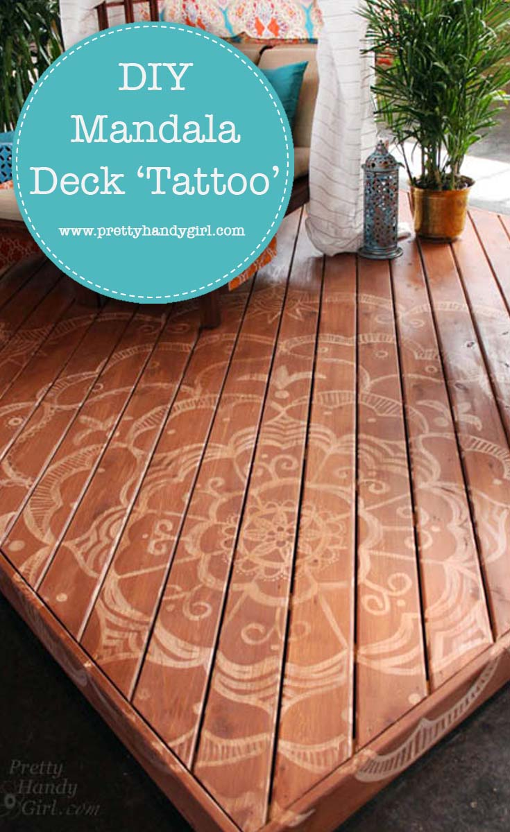 How to paint a giantmandala tattoo on your deck and turn an ordinary deck into a beautiful retreat! | DIY deck paint | Pretty Handy Girl #DIY #decking #deckpaint