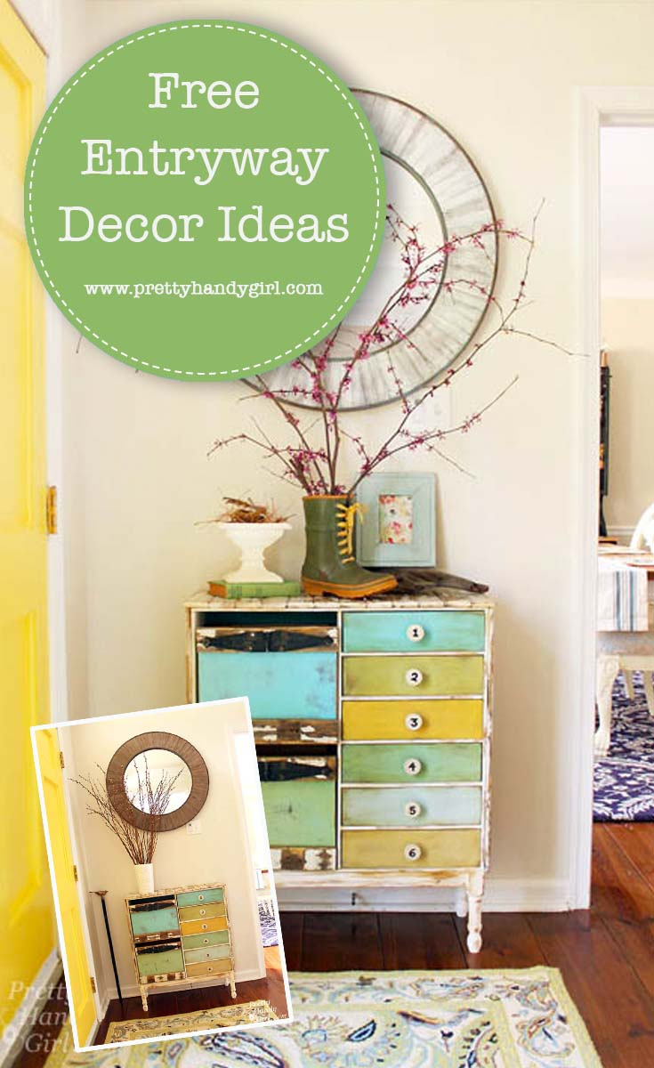 You don't need a huge budget to make over a space in your home! See how Pretty Handy Girl transformed her entryway for FREE! | Free home decor ideas | Entryway decor #prettyhandygirl #homedecor #entrywaydecor