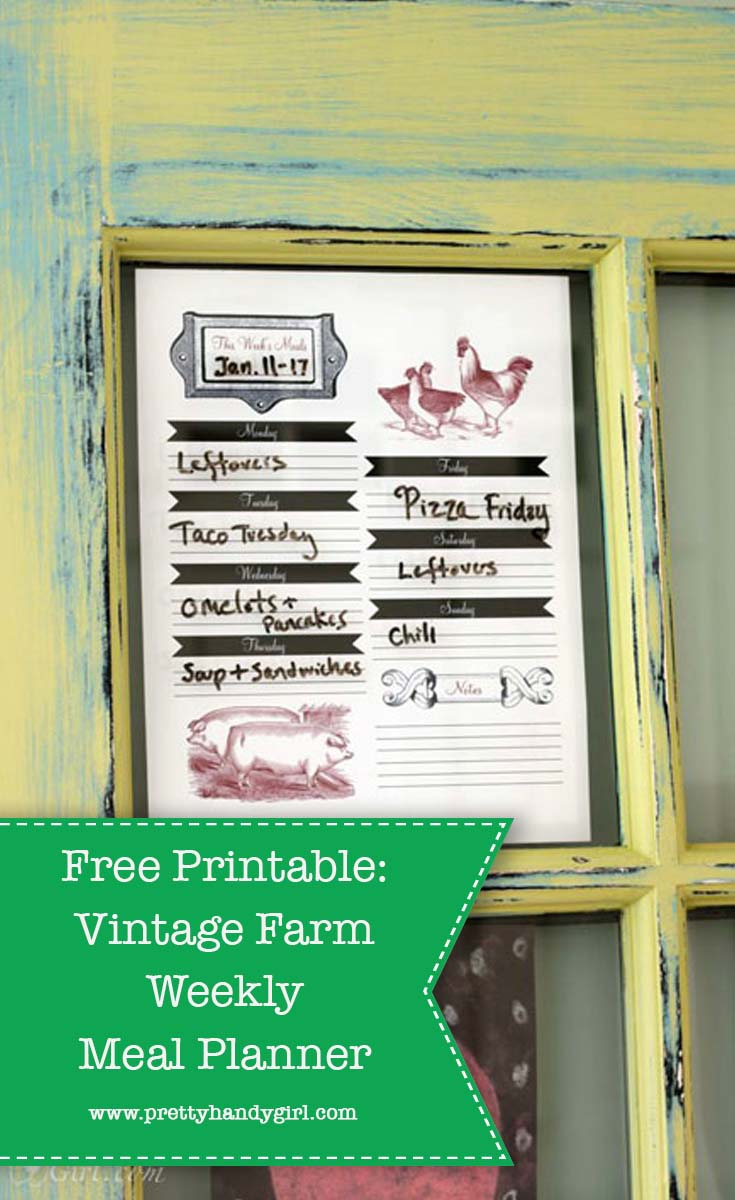 Stay organized with this FREE vintage weekly meal planner from Pretty Handy Girl! | Free printable | Weekly meal planning #prettyhandygirl #mealplanner #weeklymealplan