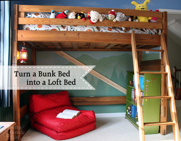 Vintage How to Turn a Bunk Bed into a Loft Bed Pretty Handy Girl