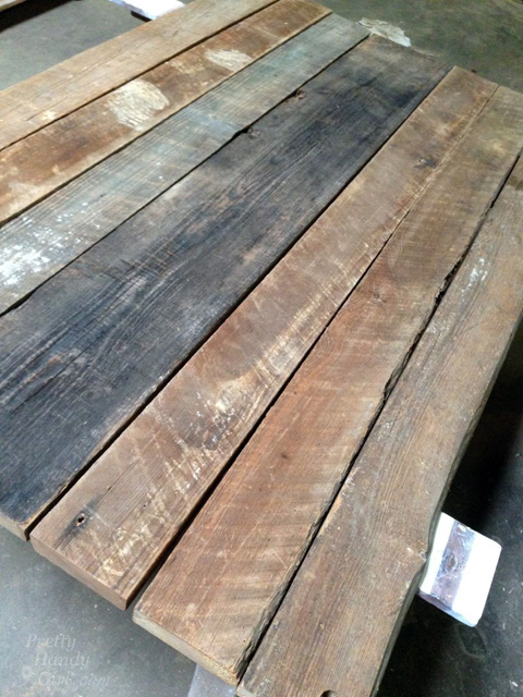 Reclaimed Lumber Farmhouse Table | Pretty Handy Girl - Rustic Wood Farmhouse Table Top From Reclaimed Lumber