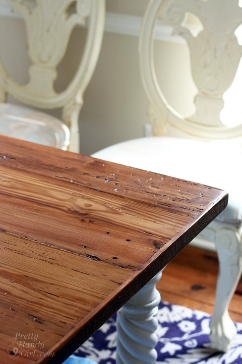 Reclaimed Lumber Farmhouse Table   Pretty Handy Girl. Rustic Wood Farmhouse Table Top from Reclaimed Lumber