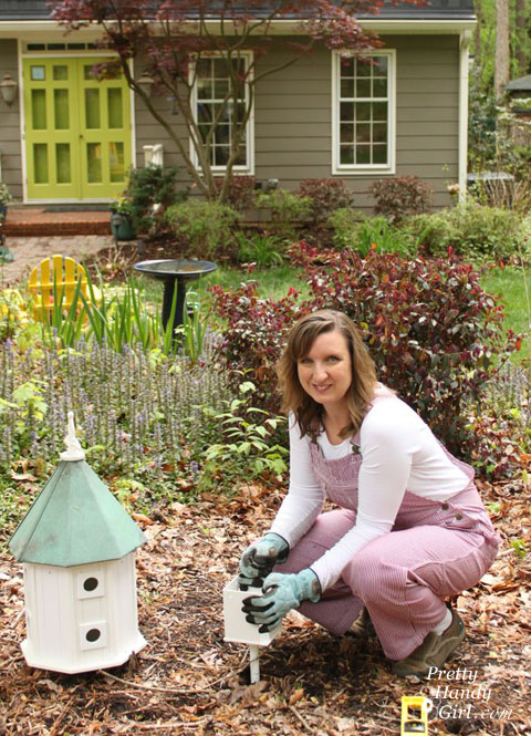Install a Post Mounted Birdhouse | Pretty Handy Girl