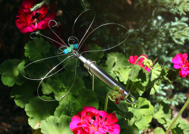 Dragonfly Garden Decor using a Dollar Store Whisk and Skewer   Pretty Handy Girl