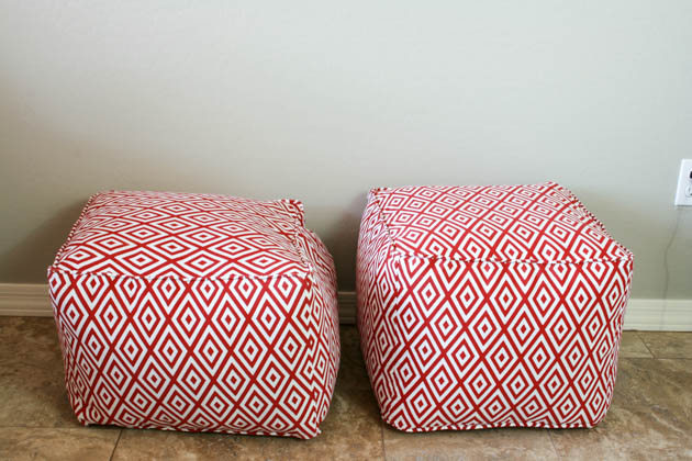 Diy pouf ottoman tutorial and lessons learned pretty handy girl styrofoam beads vs fiberfill and clothes solutioingenieria Gallery