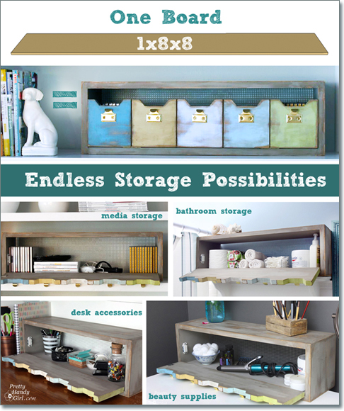 Plenty 'o Storage from One Board | Pretty Handy Girl