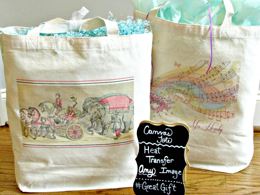 Iron-on transfer tote bags