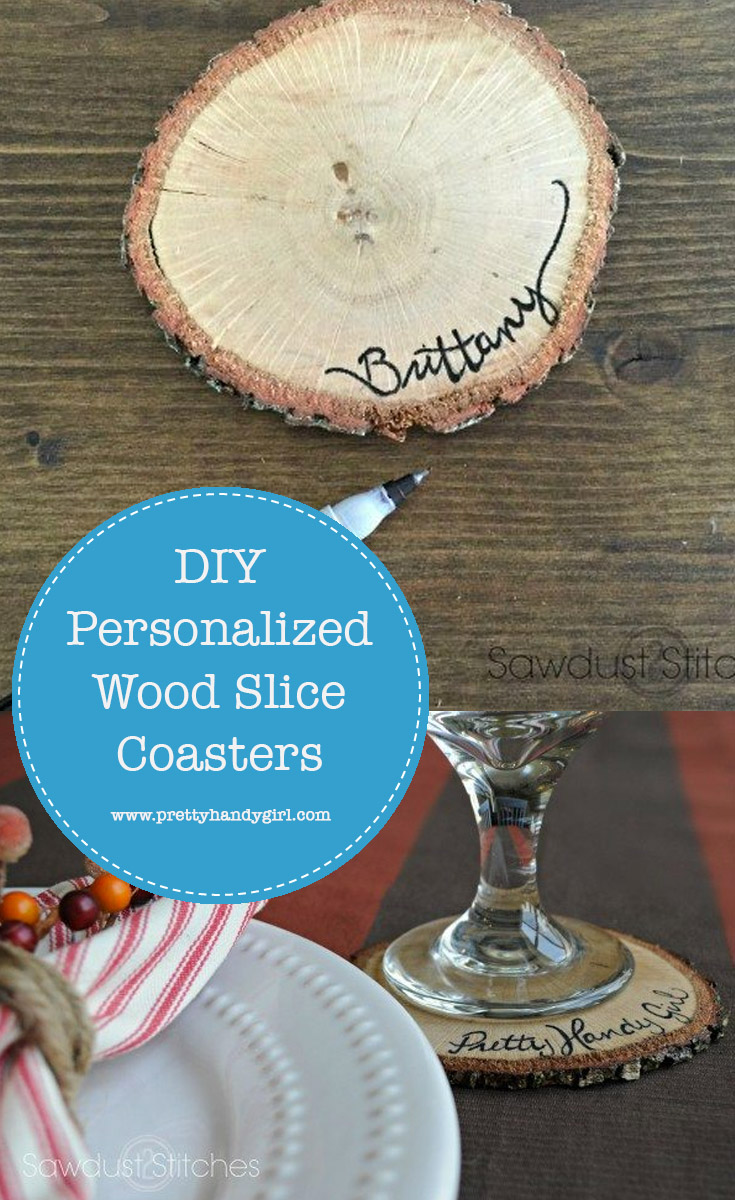 Add rustic charm to your tablescape with these DIY personalized wood slice coasters | Table decor | Name tags for table | Pretty Handy Girl #prettyhandygirl #tablescape #tabledecor