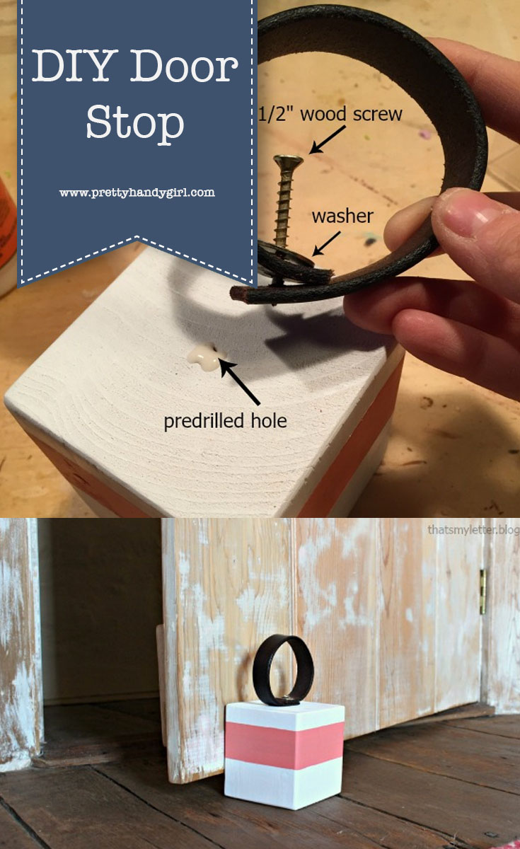 Follow along with this step by step tutorial on how to make aDIY Door Stop with a Leather Handle. | Door stop tutorial | Pretty Handy Girl #prettyhandygirl #DIY #doorstop