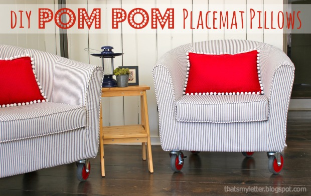 DIY Pom Pom Placemat Pillows