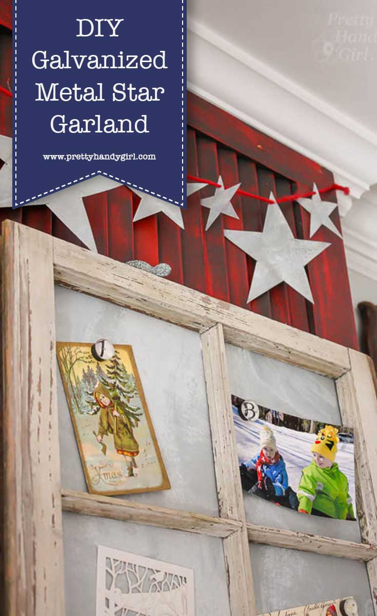 Add rustic holiday charm to your home's decor with this DIY galvanized star garland from Pretty Handy Girl! | DIY holiday home decor | holiday home craft | #prettyhandygirl #DIY #holidayhome #holidaycraft