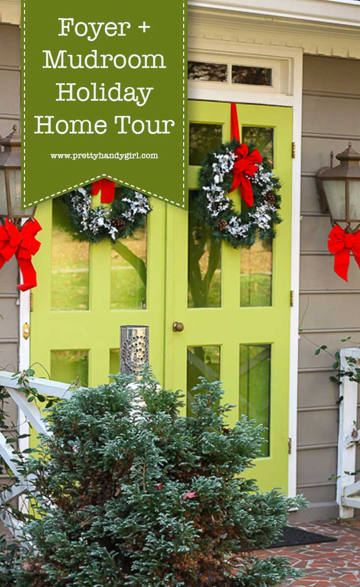 Add holiday charm to your foyer and mudroom with these holiday home decor ideas from Pretty Handy Girl | holiday foyer | holiday mudroom | mudroom decor #prettyhandygirl #holidayhome #holidaymudroom #holidayfoyer#holidaydecor