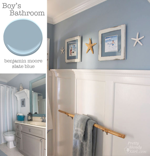 Bathroom - Benjamin Moore Slate Blue | Pretty Handy Girl