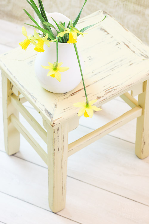 Chalk Painted Wooden Stool