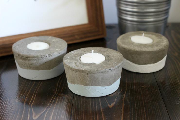 Concrete Tea Light Candle Holders   Pretty Handy Girl