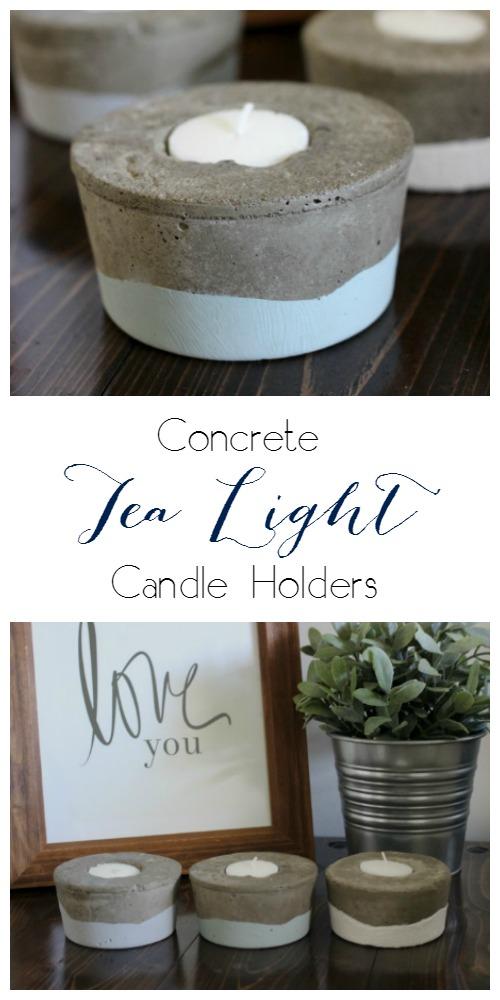 concrete tea light candle holders pretty handy girl. Black Bedroom Furniture Sets. Home Design Ideas