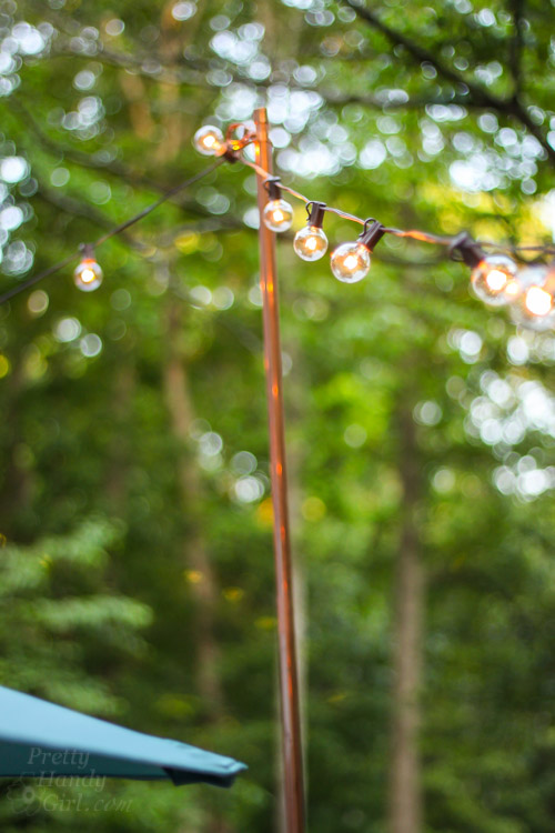 String Lights Pole : Decorating Ideas for an Outdoor Garden Party - Pretty Handy Girl