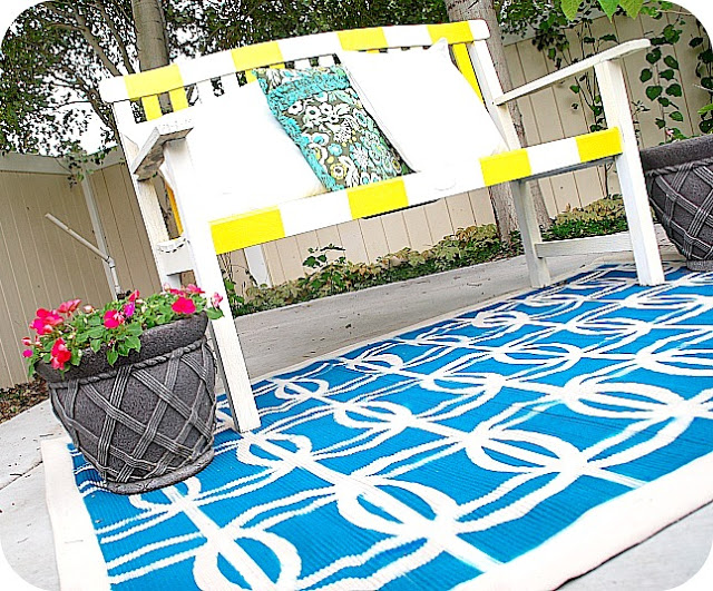 stenciled rug on the bottom photo