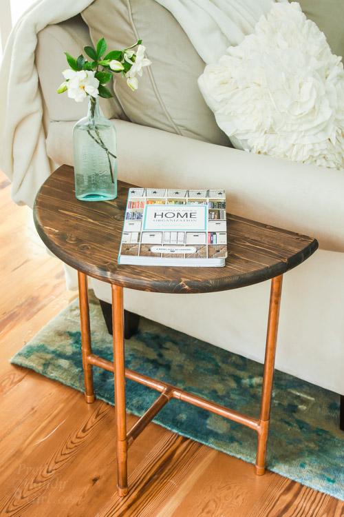 Half Round Copper U0026 Wood Side Table   Pretty Handy Girl