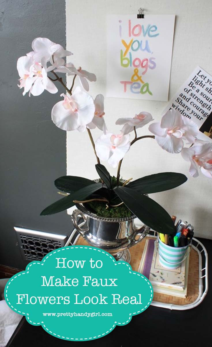 Check out this great way to get the look of real greenery with fauxflowers! | Pretty Handy Girl #prettyhandygirl #fauxflowers #homedecor #crafttutorial