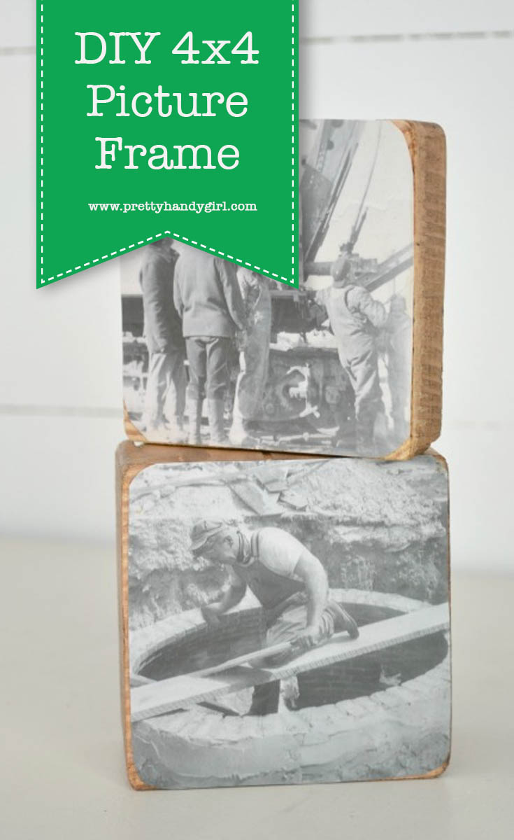 A 4x4 picture frame is a great way to use up some left over 4x4s.   Scrap wood project   Pretty Handy Girl #prettyhandygirl #DIY #scrapwood #pcitureframe